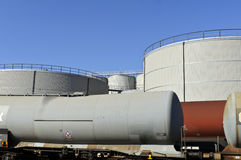 Oil storage tanks with train wagons Royalty Free Stock Photos
