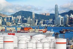 Oil Storage tanks with urban background Royalty Free Stock Photography