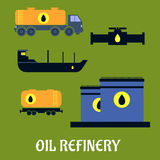 Oil storage and transportation icons. Oil industry concept for storage and transportation icons with tankers, pump, truck and tank icons royalty free illustration