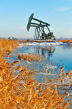 The oil sucking machine and reed snow lakeside Stock Photos