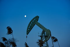 The oil sucking machines and moon sunrise Stock Images