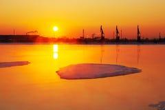 The oil sucking machines sunrise Stock Images
