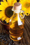 Oil with sunflowers Stock Photo