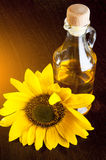 Oil with sunflowers Royalty Free Stock Images