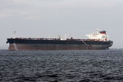 Oil super tanker under power Royalty Free Stock Photo