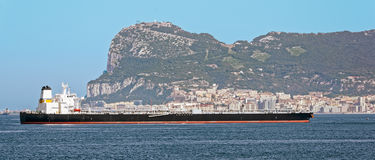Oil supertanker in Gibraltar Royalty Free Stock Photos