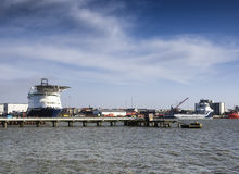 Oil Supply ships in Esbjerg harbor, Denmark Stock Images