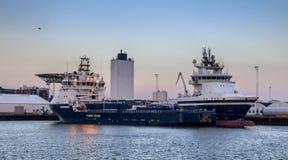 Oil Supply ships in Esbjerg harbor, Denmark Stock Images