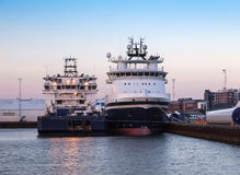 Oil Supply ships in Esbjerg harbor, Denmark Stock Image