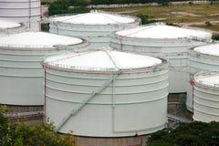 Oil tank. Oil storage tanks in Hong Kong Stock Photo