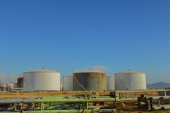 Oil tank. At industrial site Royalty Free Stock Images
