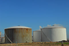 Oil tank. At industrial site with nice blue sky Stock Photos