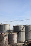 OIL TANK. At industrial site with nice blue sky stock images