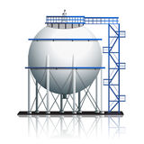 Oil tank ball with reflection Royalty Free Stock Photos