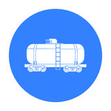 Oil tank car icon in black style isolated on white background. Oil industry symbol stock vector illustration. Oil tank car icon in black style isolated on white Stock Photography