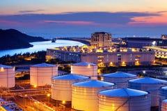 Oil tank in cargo service terminal Stock Photos