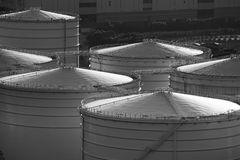 Oil tank in cargo service terminal Stock Photos