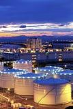 Oil tank in cargo terminal Stock Photos