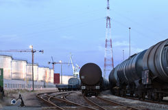 Oil tank cars in twilight Royalty Free Stock Photography