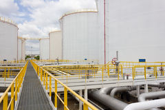 Oil tank farm in refinery Royalty Free Stock Photo