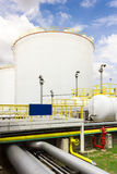 Oil tank farm in refinery Royalty Free Stock Images