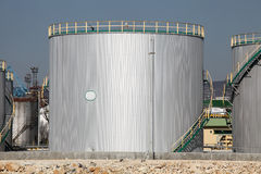 Oil tank. In gas factory Royalty Free Stock Photo