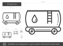 Oil tank line icon. Oil tank vector line icon isolated on white background. Oil tank line icon for infographic, website or app. Scalable icon designed on a grid Stock Photos