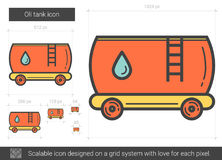 Oil tank line icon. Oil tank vector line icon isolated on white background. Oil tank line icon for infographic, website or app. Scalable icon designed on a grid Stock Photo