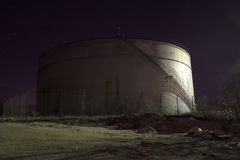Oil tank at night Stock Photography