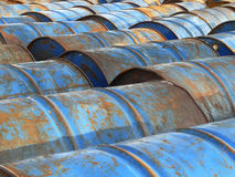 Oil tank. Old used blue oil tank Royalty Free Stock Photo