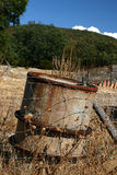 Oil tank pollution Stock Photo