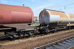 Oil tank railway carriages Royalty Free Stock Image