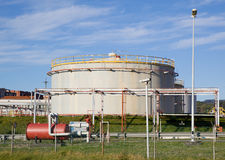 Oil tank refinery Stock Photo