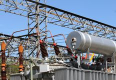 Oil tank in transformer power station for the production of ener Stock Photography