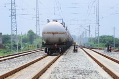 Oil tank truck train Royalty Free Stock Image