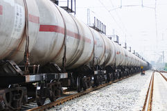 Oil tank truck train Stock Photography