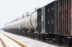 Oil tank truck train Royalty Free Stock Photos