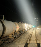 Oil tank truck train at night Stock Photography