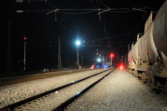 Oil tank truck train at night Stock Photo