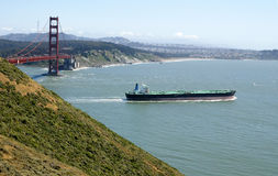 Oil Tanker. Exits San Francisco bay - with the Golden Gate bridge in the background Stock Images
