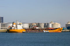 Oil tanker. Moored in the Port of Rotterdam Stock Photo