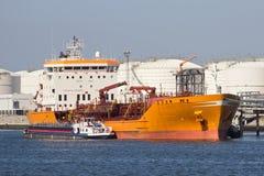 Oil tanker. Moored oil tanker in a port Stock Photo