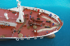 Oil Tanker. A birdseye view of the front of an oil tanker Royalty Free Stock Images