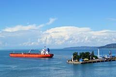Oil tanker at Batumi port. Oil tanker anchored at the Batumi port Georgia in Black Sea Royalty Free Stock Images