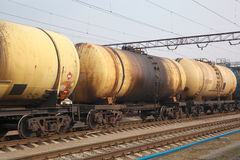 Oil tanker cars Royalty Free Stock Photo