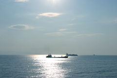 Oil tanker and container carrier Royalty Free Stock Photo