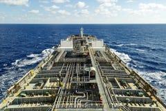 Oil tanker deck with pipeline. Medium Range tanker royalty free stock photo