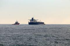 Oil tanker at dusk Stock Images