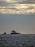Oil tanker at dusk Royalty Free Stock Photography
