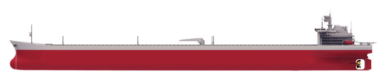 Oil tanker empty side. Large size oil tanker ship from side view Royalty Free Stock Photos